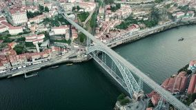 Aerial view of Porto, Portugal. Douro River and Luis I Bridge stock video footage