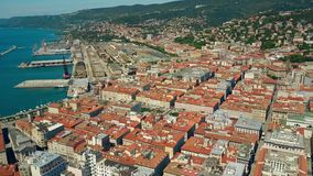 Aerial view of the Porto Vecchio or Port of Trieste city and Centrale railway station, Italy Stock Images
