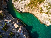 Aerial  view of Porto Vromi beach in Zakynthos Zante island, i. N Greece Royalty Free Stock Image
