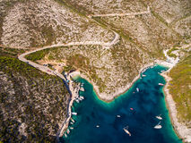 Aerial view of Porto Vromi beach in Zakynthos Zante island, i stock photo