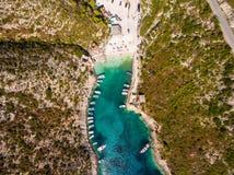 Aerial  view of Porto Vromi beach in Zakynthos Zante island, i. N Greece Stock Image