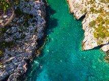Aerial  view of Porto Vromi beach in Zakynthos Zante island, i. N Greece Stock Photography