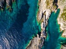 Aerial  view of Porto Vromi beach in Zakynthos Zante island, i. N Greece Stock Photo
