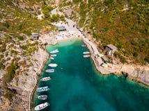 Aerial  view of Porto Vromi beach in Zakynthos Zante island, i. N Greece Royalty Free Stock Images