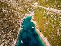 Aerial  view of Porto Vromi beach in Zakynthos Zante island, i. N Greece Stock Photos