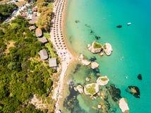 Aerial  view of Porto Zorro  Azzurro beach in Zakynthos Zante Royalty Free Stock Images