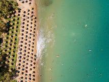Aerial  view of Porto Zorro  Azzurro beach in Zakynthos Zante. Island, in Greece Stock Photos
