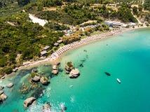 Aerial  view of Porto Zorro  Azzurro beach in Zakynthos Zante. Island, in Greece Royalty Free Stock Image