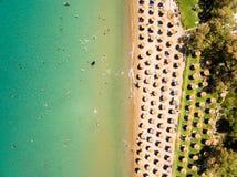 Aerial  view of Porto Zorro  Azzurro beach in Zakynthos Zante Stock Image