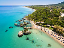 Aerial  view of Porto Zorro  Azzurro beach in Zakynthos Zante Stock Photos
