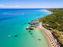 Aerial  view of Porto Zorro  Azzurro beach in Zakynthos Zante. Island, in Greece Royalty Free Stock Images
