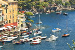 Aerial view on Portofino bay. Royalty Free Stock Photo