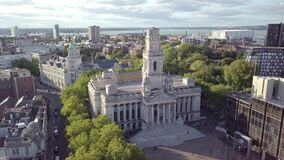 Aerial view of Portsmouth, Hampshire, Great Britain stock video