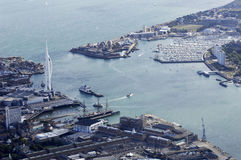 Aerial view of Portsmouth Harbour and Gosport. With marina Royalty Free Stock Photo