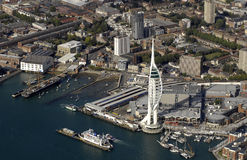 Aerial view of Portsmouth Harbour and Tower. Portsmouth Harbour and Millenium Spinnaker Tower aerial view Royalty Free Stock Photos
