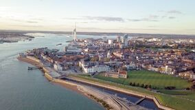 Aerial view of Portsmouth, Hampshire, Great Britain stock footage