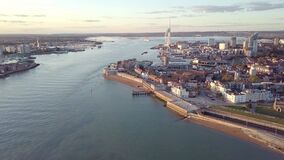 Aerial view of Portsmouth, Hampshire, Great Britain stock video footage