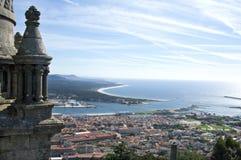 Aerial view of Portuguese city Viana do Castelo. Portugal, district and city Viana do Castelo, region Costa Verde or Green Coast. Seen from Mount Santa Luzia Royalty Free Stock Photos