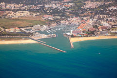 Aerial view of Portuguese coast, Vilamoura Stock Photos