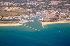 Aerial view of Portuguese coast, Vilamoura Stock Photos