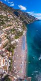 Aerial view of Positano photo, beautiful Mediterranean village on Amalfi Coast Costiera Amalfitana, best place in Italy, travel stock images