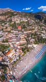 Aerial view of Positano photo, beautiful Mediterranean village on Amalfi Coast Costiera Amalfitana, best place in Italy, travel royalty free stock image