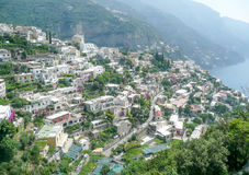 Aerial View of Positano Village on the Amalfi Coast Royalty Free Stock Photography