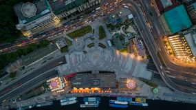Aerial view of the Postal Square in Kiev at dusk time. Beautiful aerial view down Pochtovaya Square in Kiev at dusk time with night illumination. Night in the royalty free stock image
