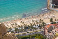 Aerial view of Postiguet beach, Alicante, Spain Royalty Free Stock Photos