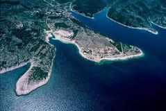 Aerial view at Povlja at Brac island Stock Images