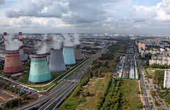 Aerial view of power generation station Stock Photo