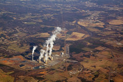 Aerial view of a power plant Stock Photos