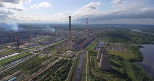 Aerial view of power plant facility stock video