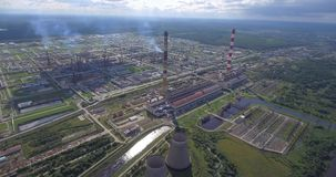 Aerial view of power plant facility stock footage
