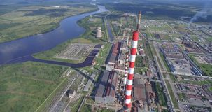 Aerial view of power plant facility stock video footage
