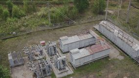 Aerial view of Transformer substation. High-voltage SF6 circuit breaker. Circuit breaker high voltage. Part of high