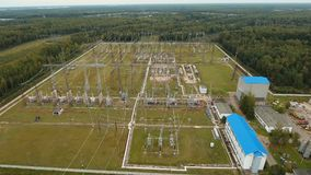Electrical substation,power station. Aerial view stock footage