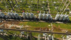 Electrical substation,power station. Aerial view. Aerial view Power plant, transformation station, cables and wires. High voltage electric power substation stock footage