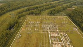 Electrical substation,power station. Aerial view. Aerial view Power plant, transformation station, cables and wires. High voltage electric power substation stock video