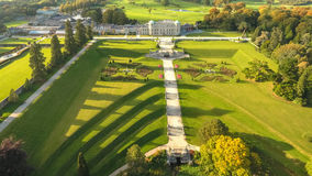 Aerial view. Powerscourt gardens. Wicklow. Ireland. Aerial view. Powerscourt House and gardens. county Wicklow. Ireland stock photography