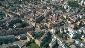 Aerial view of residential houses in Poznan, Poland stock footage