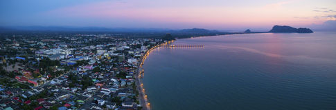 Aerial view of prachaupkirikhan province southern of thailandabo Royalty Free Stock Image