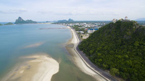 Aerial view of prachuap khiri khan harbor southern of thailand Royalty Free Stock Image
