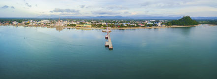Aerial view of prachuap khiri khan province and port harbor  sou Royalty Free Stock Images