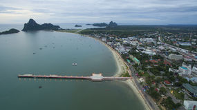 Aerial view of prachuapkhirikhan harbor southern of thailand Stock Image