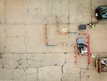 Aerial view of practical forklift training course. stock images