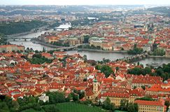 The aerial view of Prague City Royalty Free Stock Photos