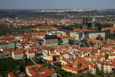 The aerial view of Prague City from Petrin Hill, Prague, Czech Republic Royalty Free Stock Photo