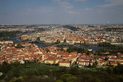 The aerial view of Prague City from Petrin Hill, Prague, Czech Republic Royalty Free Stock Photography