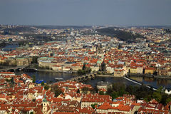 The aerial view of Prague City from Petrin Hill, Prague, Czech Republic Stock Image